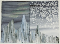 ©Bobbi Larson Collage and painting techniques capture the qualities of ice.