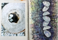 A painted page makes a colorful background for drawing on. © Gail Harker