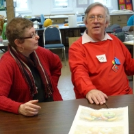 Gail Harker and Richard Box in the classroom