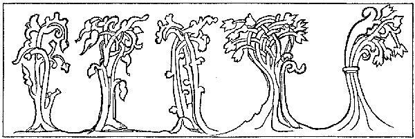Sketch of Gothic Foliage trees from Bayeux Tapestry