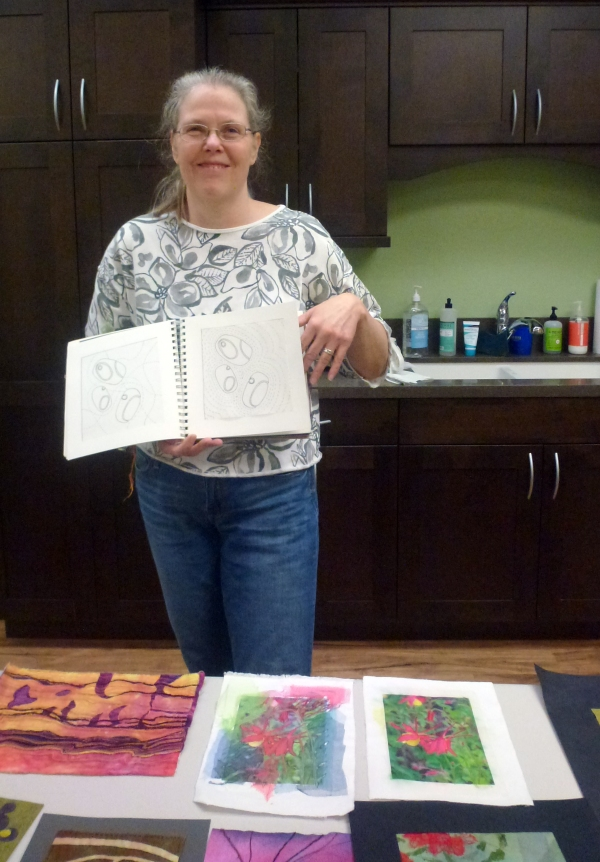 Ruth Lane showing  her Textiles