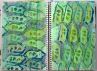 © Gail Harker - printed peas on paper with pen