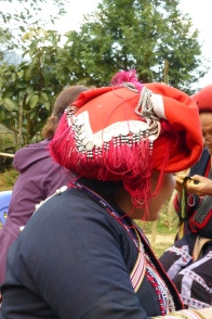 Red Dao Headpiece, near Sapa, Vietnam photo © Penny Peters
