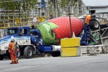 Concrete Mixer posing as Strawberry art - Granville Island Vancouver