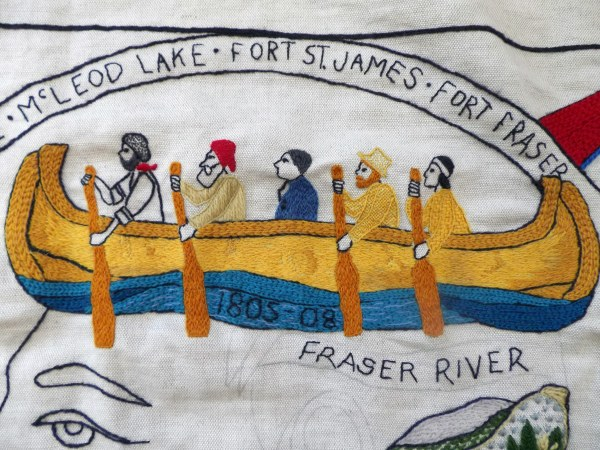 There are 37 regional panels from Canada. Four of these panels were stitched by members of the Embroiderers' Guild of Victoria (Sir James Douglas, Robert Dunsmuir, Agnes Dean Cameron, and Simon Fraser) between January 2014 and May 2014.