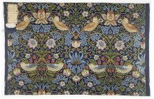 Strawberry Thief by William Morris. a very famous indigo discharged and block printed cotton textile. It shows thrushes stealing strawberries in his garden in Kelmscott. held at V. and A. Museum - visual from Wikipedia