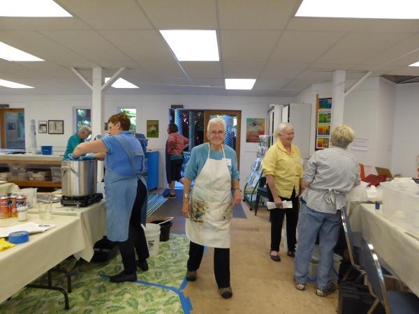 working the dye pots