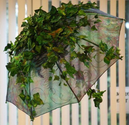 ©Wendy MacKinnon- In the Shade - hand made umbrella and vines using manipulation and hand stitch