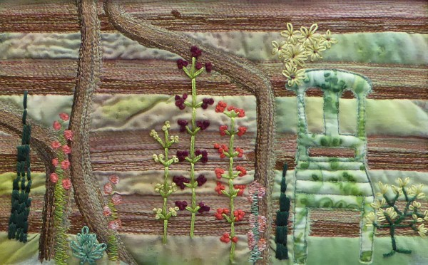 ©Pauline Oakey - garden with hand and machine embroidery