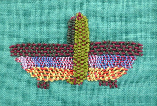 ©Pauline Oakey - needle darning a trug