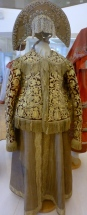 19th C metal thread embroidered jacket. head dress with pearl Embroidery.Nizhny Novogrod Province. the Russian Museum, St Petersburg