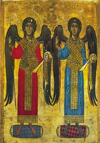 Wikipedia public domain. An icon from the 12th C showing Michael and Gabriel as Archangels wearing the dress of the Imperial guard