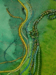 spring collaged fabric and stitch ©Gail Harker
