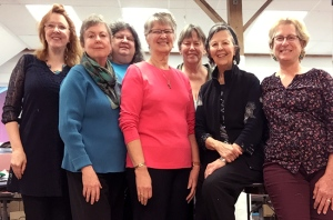 Machine Gold Work class (l to r): Christina Fairley Erickson, Gail Harker (tutor), Laura Elmore , Karen Nelson, Pat Christensen, Gloria Shelton and Steffany Neuschaefer