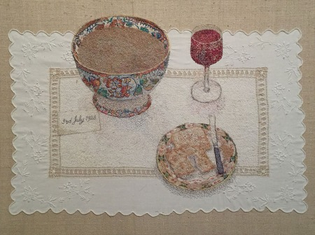 """""""A Cumbrian Birthday"""" 1997/8 embroidery by Audrey Walker"""