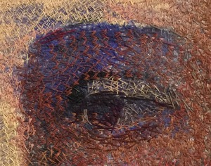 """Embroidery detail from """"Beach Woman"""" by Audrey Walker 1996."""