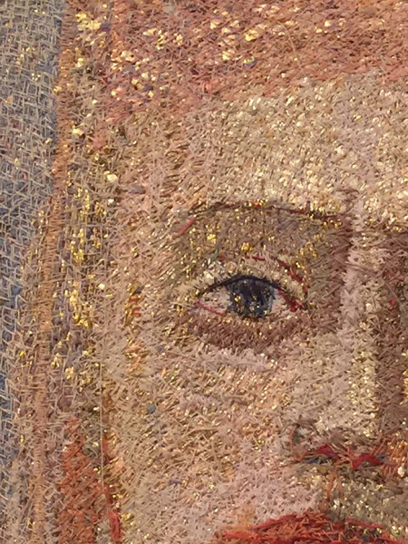 """Detail of Goldwork and Embroidery in """"Gaze IV"""" by Audrey Walker 1999."""