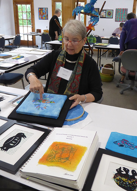 Marilyn Olsen demonstrated contemporary darning and kantha stitching techniques.