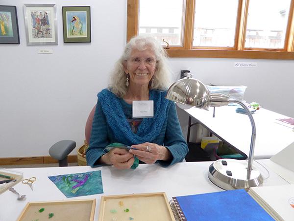 Nancy Drake exhibiting hand beading.